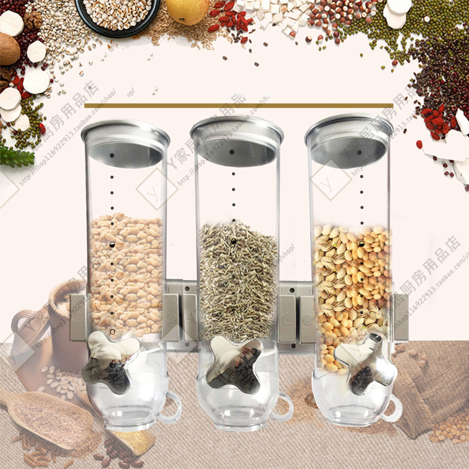 3pcs/set Cereal device Wall Mounting Type Food Grain Storage Tank Grain Distributor Food storage Utensils