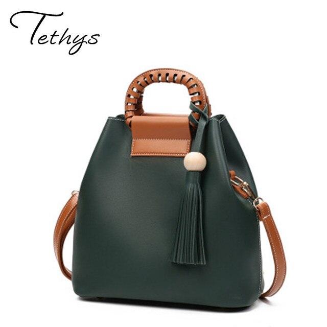 Women Shoulder Bag Pu Women's Handbags Tassel Bucket Bag Vintage Messenger Bag Ladies Tassel Bolsas