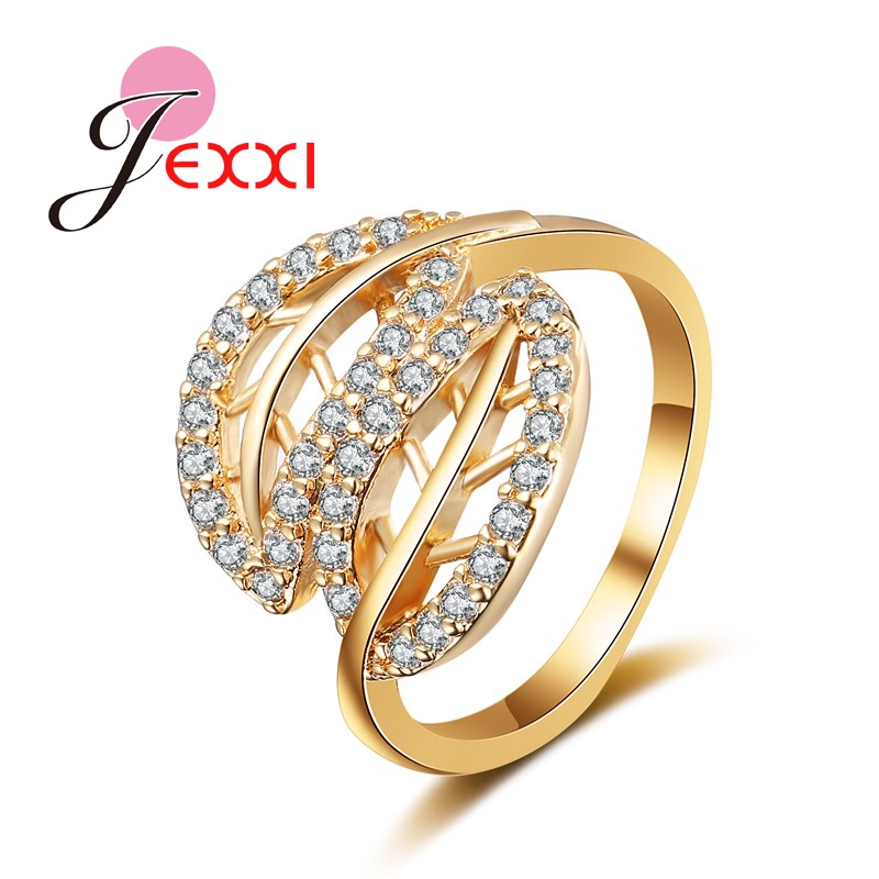 US $2 9 |PATICO Two Leaf Fashion Gold Color Rings For Women AAA Cubic  Zirconia Stone Finger Rings For Femal Engagement Wedding Hot Sale-in Rings  from