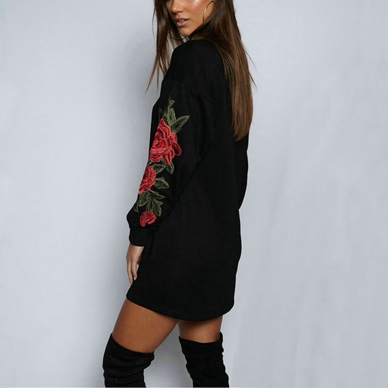 Long Sleeve Dress Autumn CFYH 2018 New Arrival Embroidery Floral Sweatshirts For Women Fashion Casual Sweatshirt Black White