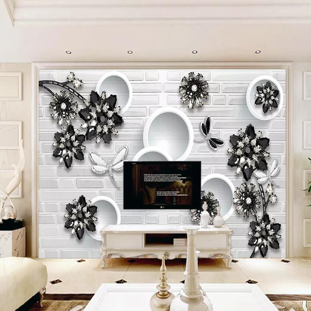 Decorative Wallpaper Series Black And White Clic Love Flower Jewelry Background Wall