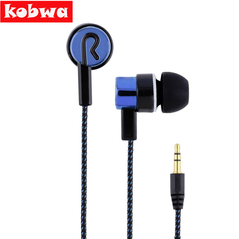 Kobwa 3.5mm In-ear Piston Binaural Stereo Earphone Roping Stereo Headset Earbud 1.1M Reflective Fiber Cloth Line Metal Headphone