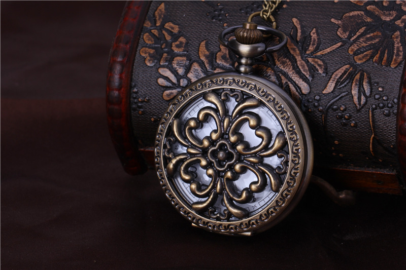Large Four Apples Pocket Watch For Women/men Best Gift Holllow Craved F;ower Pattern Flower With Chain