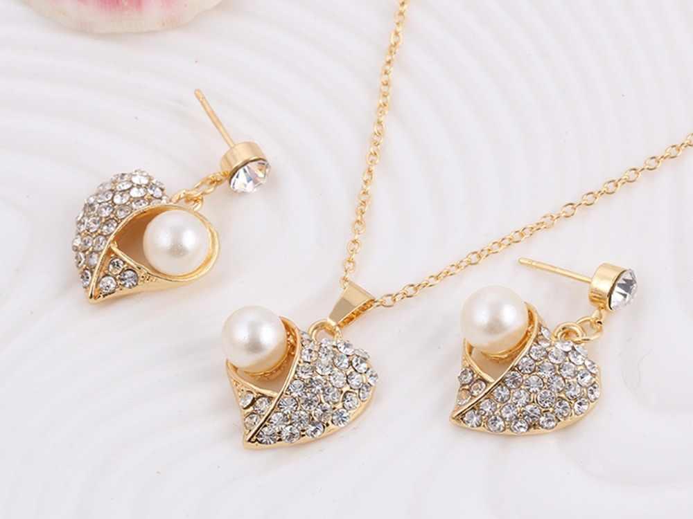Heiße Mode Braut Hochzeit Kristall Pfirsich Herz Anhänger Colliers Halskette/Ohrringe Schmuck Sets Für Frauen Simulation Perle Schmuck