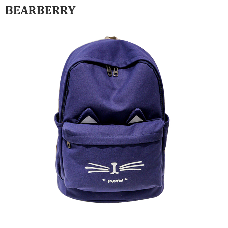 Bearberry 2017high quality canvas backpacks lovely cat travel backpack large capacity school bags for girls drop