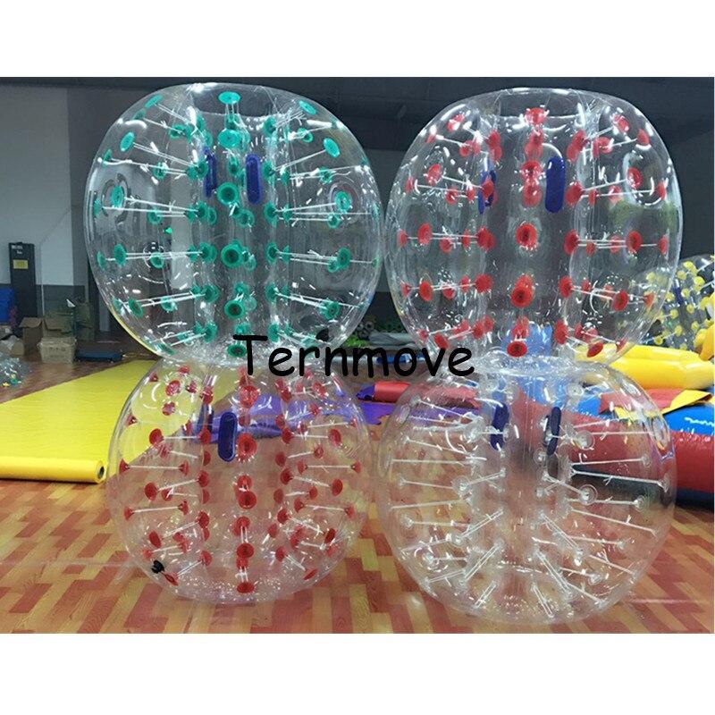 PVC Bola de Futebol Bolha, bolas adesivos humano transparente com ponto, tamanho adulto Snooker Bola Bolha de Futebol de Futebol Para O Futebol 1.5 m
