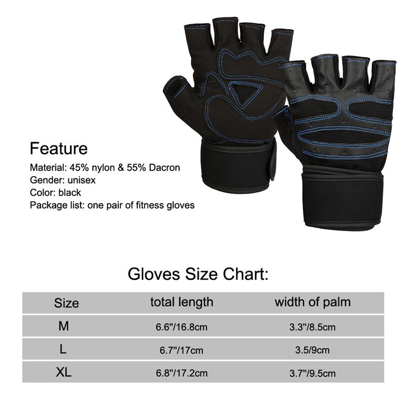 Vbiger Men Women Workout Gloves Half Finger Fitness Gloves Anti Slip