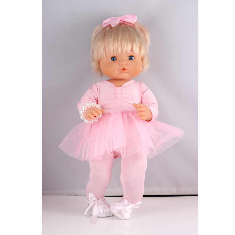 Ropa para muñecas ajuste 41cm muñeca de nanuco y su hermana 6-piezas Rosa Ballet trajes de baile conjunto con diadema pulseras zapatos