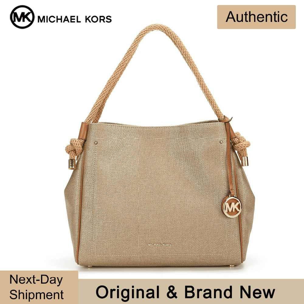 Michael Kors Isla Satchel (Pale Gold/Gold) Luxury Handbags For Women Bags  Designer