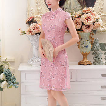 Traditional Chinese Lace Dress Women's Purple/red/pink Cheongsam Size S to 2XL