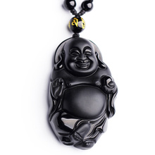 цена на Dropshipping Chinese Carving Natural Black A Obsidian Buddha Pendant Maitreya Necklace For Women mi le fo fine Jewelry Wholesale