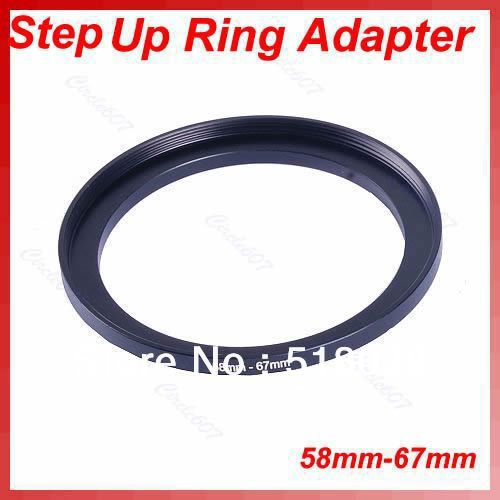 1Pc Metal 58mm-67mm 58-67 mm 58 to 67 Step Up Filter Ring Adapter Black