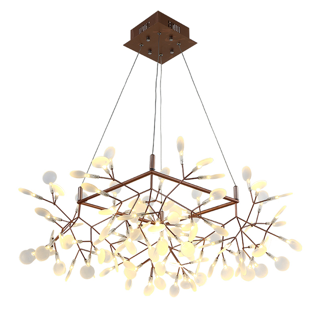 Creative Tree Branch Led Pendant Light Post Modern Square 85cm Shape Firefly Lamp Pmma Bat Black Gold Body Kung High Quality