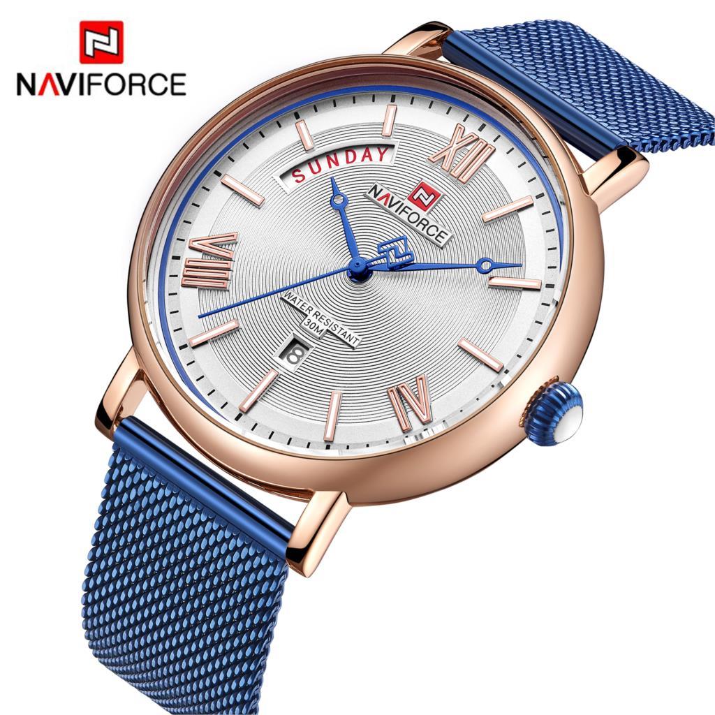 NAVIFORCE Moda Mens Relógios Top Marca de Luxo Relógio de Quartzo Dos Homens Casuais Malha 3ATM Aço À Prova D' Água Relógio Do Esporte Relogio masculino