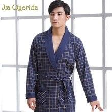 J&Q Mens Robe Cotton Long Sleeve Nightgown Peignoir Bathrobe
