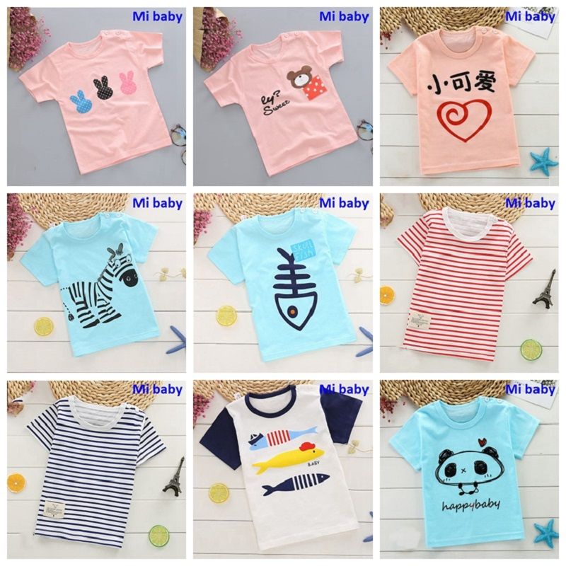 Girls T-Shirt Tee-Tops Cloth Short-Sleeve Boys Kids Cotton Beach Summer O-Neck Print