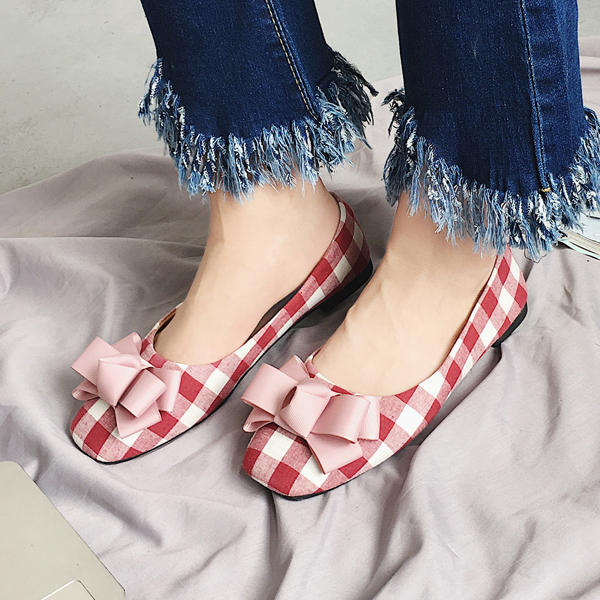 ae705939798 Espadrilles shoes woman plaid flats bow-knot design loafers square toe  moccasins ladies slip on shoes flats creepers espadrilles