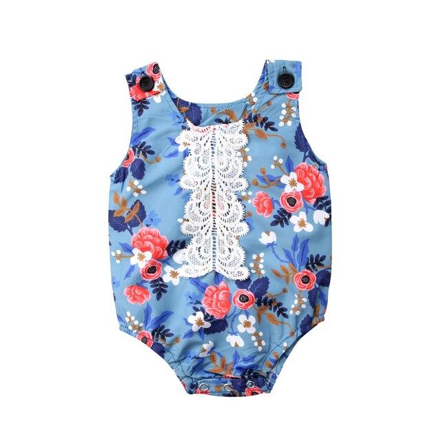 ec253268580b Cute Newborn Baby Girl Lace Floral Romper Jumpsuit Palysuit Outfits ...