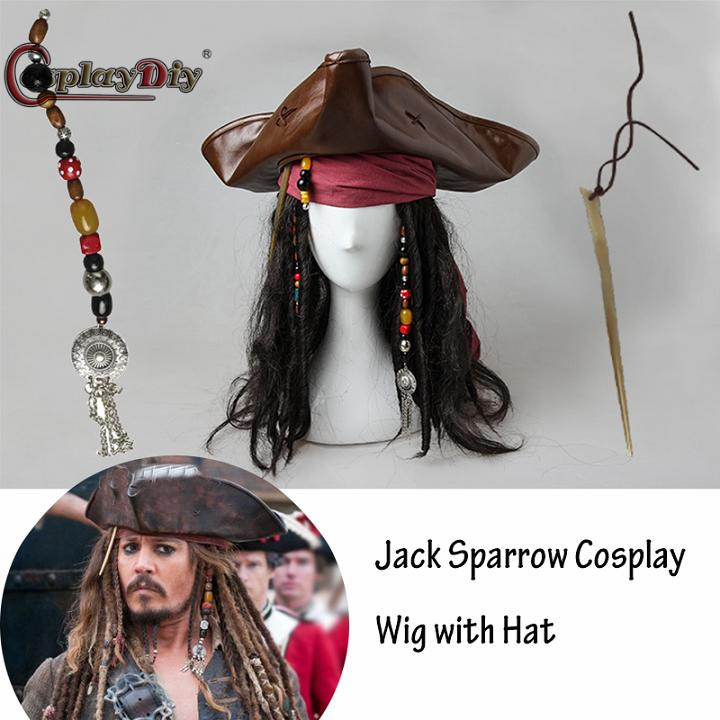 Pirates of the Caribbean 5 Cosplay   Headwear   Captain Jack Sparrow Cosplay   Headwear   Hat Hair Costume Accerrories Props J5