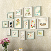 Beautiful Garden Design Light Color Wall Hanging Photo Frames 15pcs/Set Wooden Picture Frame Hallway Living Room Photo Frame