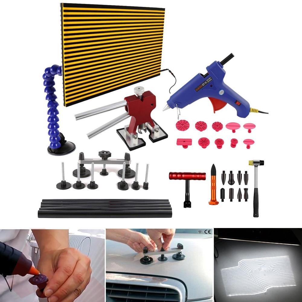 WHDZ Auto PDR Dent Repair Tools Kit Glue Dent Puller Glue Gun Bridge Puller Car Dent Remover PDR Line Board LED