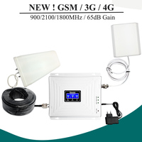 NEW LCD Display 900 1800 2100mhz Tri Band Signal Repeater 65dB GSM W CDMA LTE Mobile