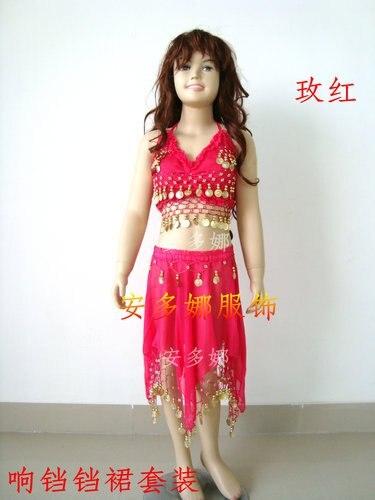 Танец живота костюм топ бюстгальтер и юбка fit детская рост 90-130 см, дети От 6 до 13 лет 6 цветов на выбор - Цвет: Dark pink