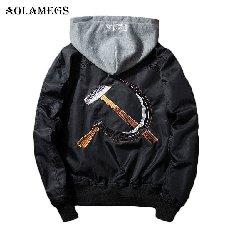 Aolamegs Men Bomber Jacket Soviet Union Embroidery Men's Jacket Stand Collar MA1 Fashion Outwear Men's Coat Hat Detachable Brand