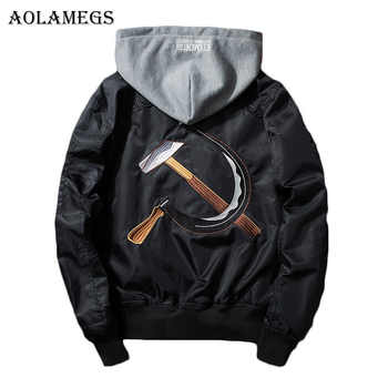 Aolamegs Men Bomber Jacket Soviet Union Embroidery Men's Jacket Stand Collar MA1 Fashion Outwear Men's Coat Hat Detachable Brand - DISCOUNT ITEM  40% OFF All Category