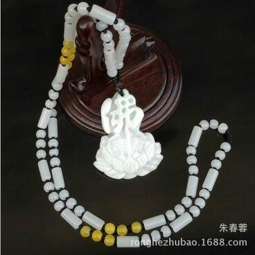 Pure manual sculpture Lotus Buddha word pendant Charm men and women style collocation barrel bead necklace