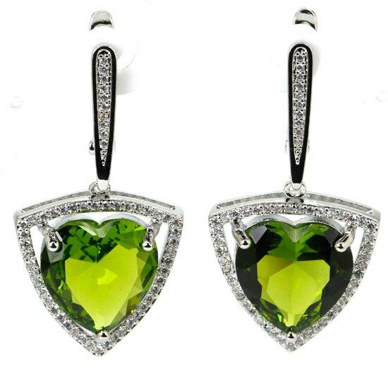 Elegant Heart 15x15mm Green Peridot, White CZ Woman's Wedding 925 Silver Earrings 42x21mm