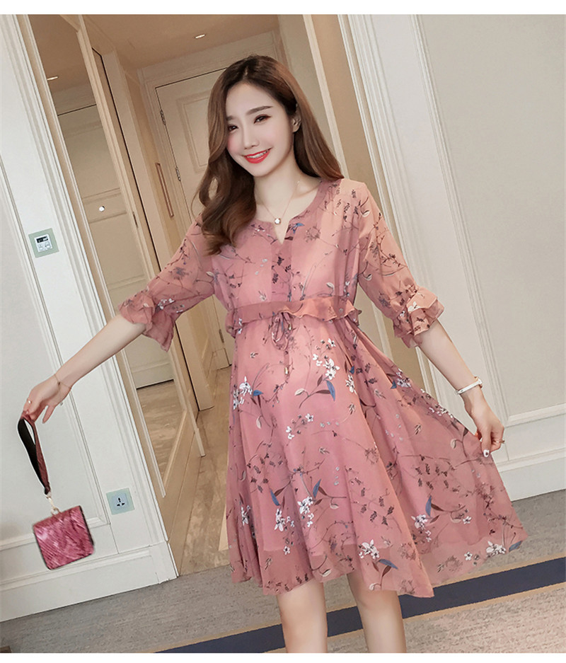 Chiffon Maternity T-Shirts Half Sleeve Loose Blouses Clothes for Pregnant Women Spring Summer Pregnancy Dresses Clothing Karachi