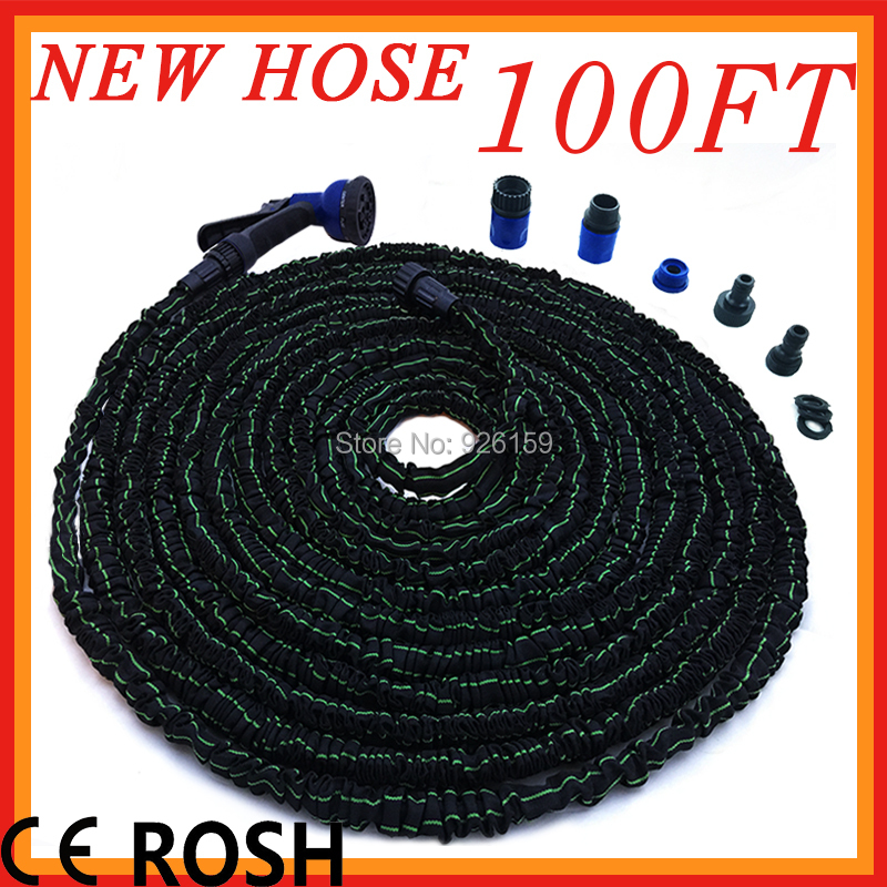 2015 New Garden Water Hose 100ft Flexible Magic Hose To Watering Mangueira Mangueras Hoses With Spray Connectors Free Shipping 125ft 7 modes expandable garden water hose pipe with spray gun