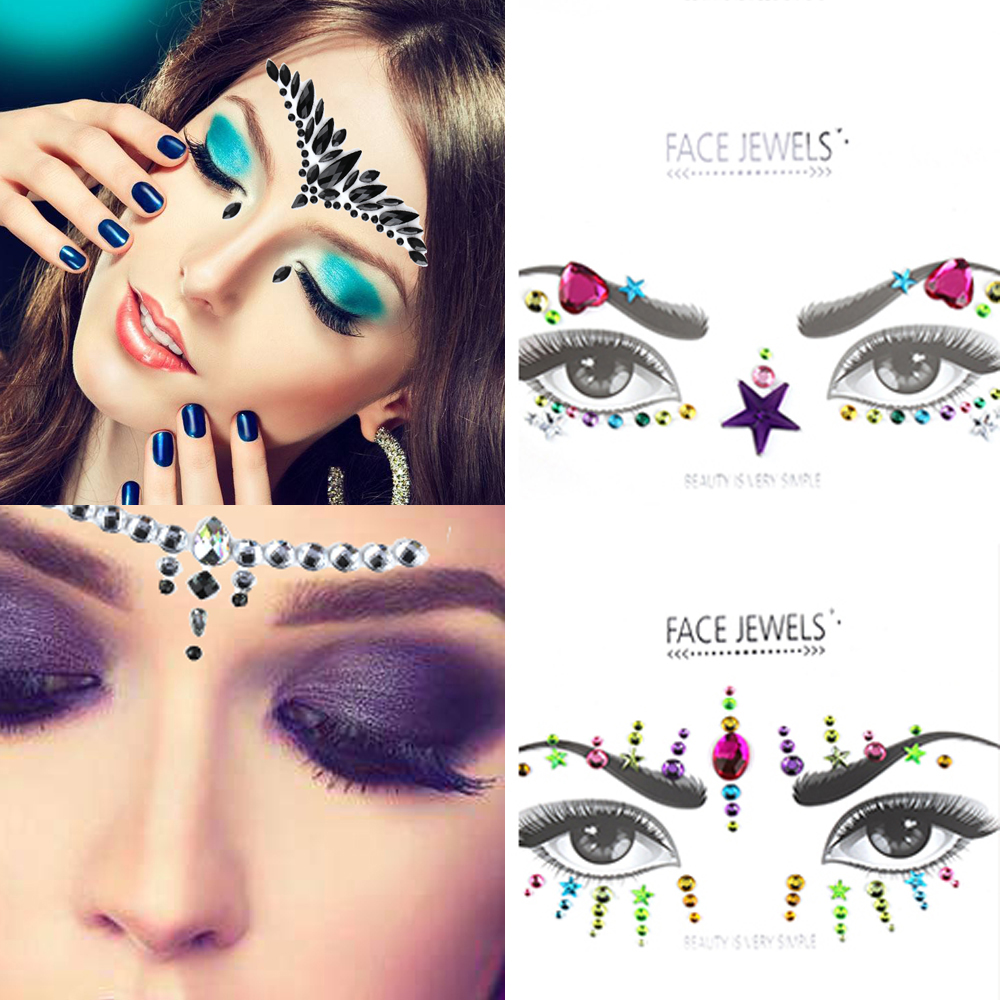 1PC New Face Jewels MakeUp Adhesive Face Jewels Gems Temporary Tattoo  Festival Party Body Gems Rhinestone Flash Tattoos Stickers-in Temporary  Tattoos from ... ad2bc7022743