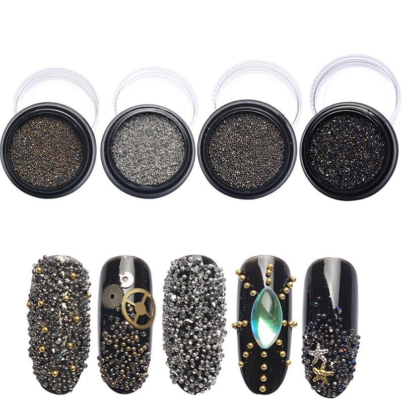 1 caja de uñas de acrílico Mezclado fairy microperlas micro piedras ...
