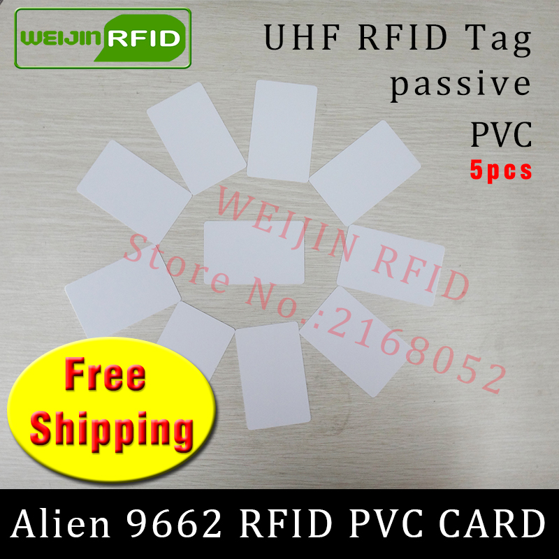UHF RFID PVC card Alien 9662 EPC Gen2 6C 915mhz 868mhz 860-960MHZ Higgs3 5pcs free shipping long range smart passive RFID tags 1000pcs long range rfid plastic seal tag alien h3 used for waste bin management and gas jar management
