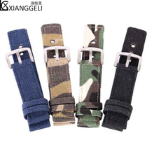 Watch accessories for field sports canvas camouflage flat straps 18mm 20mm 22mm 24 mm sports bracelet soft and comfortable