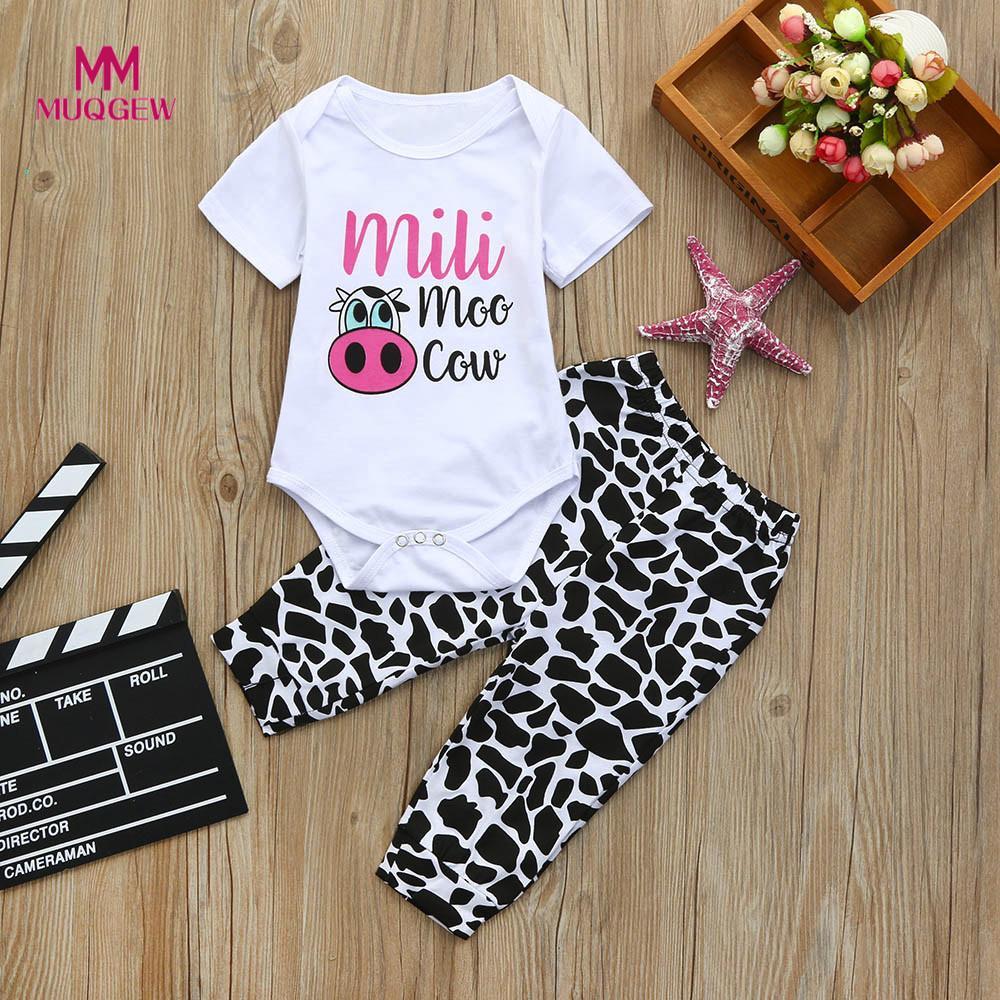 childrens set 2pcs Toddler Baby Boys Girls Clothes Set Cow Letter Print White Tops+Pants Outfits dropshipping pour enfants