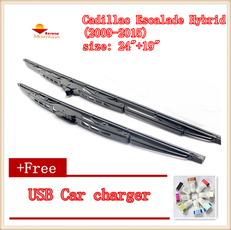 2pcs/lot Car Windscreen Wipers Blades U-type Universal For Cadillac Escalade Hybrid (2009-2015),size: 24+19