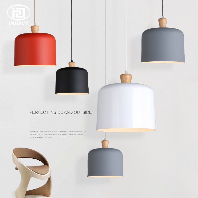 Nordic Modern Simple Pendant Lamp Single Head Solid Wood Hanging Lamps Bedroom Restaurant Cafe Store Decorative Ceiling Light restaurant cafe meal of lamps and lanterns hanging lamp is acted the role of single head 3 lemon meal hanging lamp