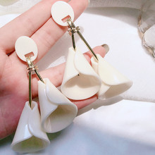 Fashion Big Earrings Exaggerated White Flower Drop Dangle For Women 2019 Holiday Party Jewelry