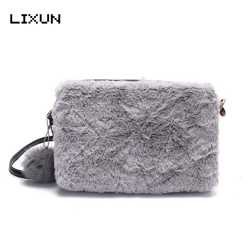 Fashion Faux Rabbit Hair Ladies Messenger Bags Hairball Handbag Winter Crossbody Shoulder Bag For Women Girls Phone Purses Bolsa prova perfetto british style elegant sheep genuine leather ankle buckle hollow out flower boots back strap chunky high heel boot