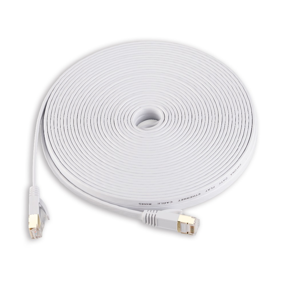 Ethernet Network LAN Cable CAT7 Flat White Lan Cable Patch Cord PC ...