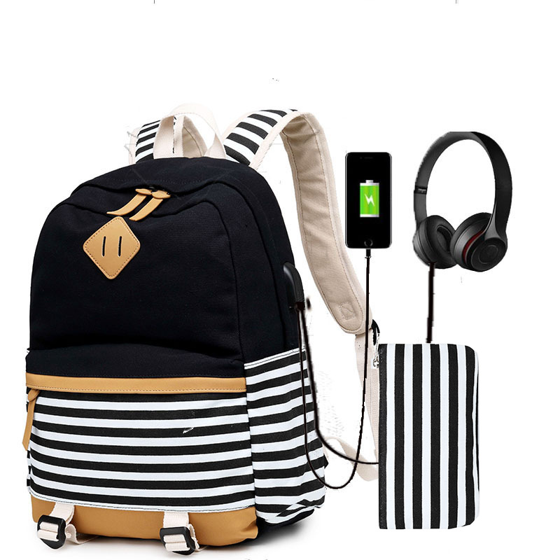 Winmax Canvas School Backpack Set 2 Vintage Naval Stripe Trend Bag USB Charge Travel Rucksack for Teenagers Sac A Dos 44cm Black