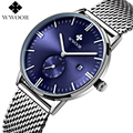 Men Watches Top Brand WWOOR Date Clock Male Waterproof Quartz Watch Men Silver Steel Mesh Strap Luxury Casual Sports Wrist Watch