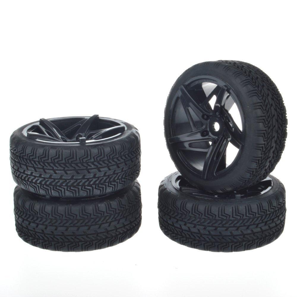4pcs 12mm Hub Wheel Rims & Rubber Tires for RC 1/10 on-road Touring Drift Rc Car 4pcs wheel rims