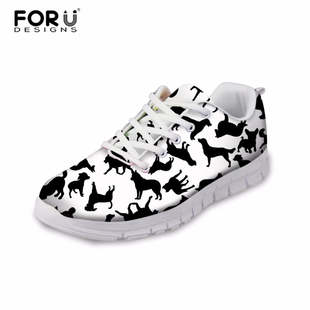FORUDESIGNS Women Lace-up Shoes 3D Animal Cat Dog Pattern Women's Leisure Breathable Shoes Casual Sneakers for Female Flats instantarts casual women s flats shoes emoji face puzzle pattern ladies lace up sneakers female lightweight mess fashion flats