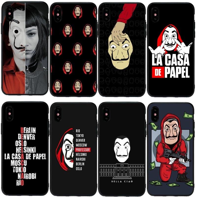 La Casa De Papel argent Heist housse De téléphone coque pour iPhone 11Pro 5S SE 6 6S Plus 7 8 8Plus XS MAX XR sac De téléphone en Silicone souple