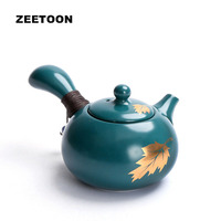 Zen Japanese Style Blue Glaze Maple Leaf 230ml Side Handle Teapot Porcelain Kung Fu Tea Set Tea Pot Ceramics Creative Home Decor