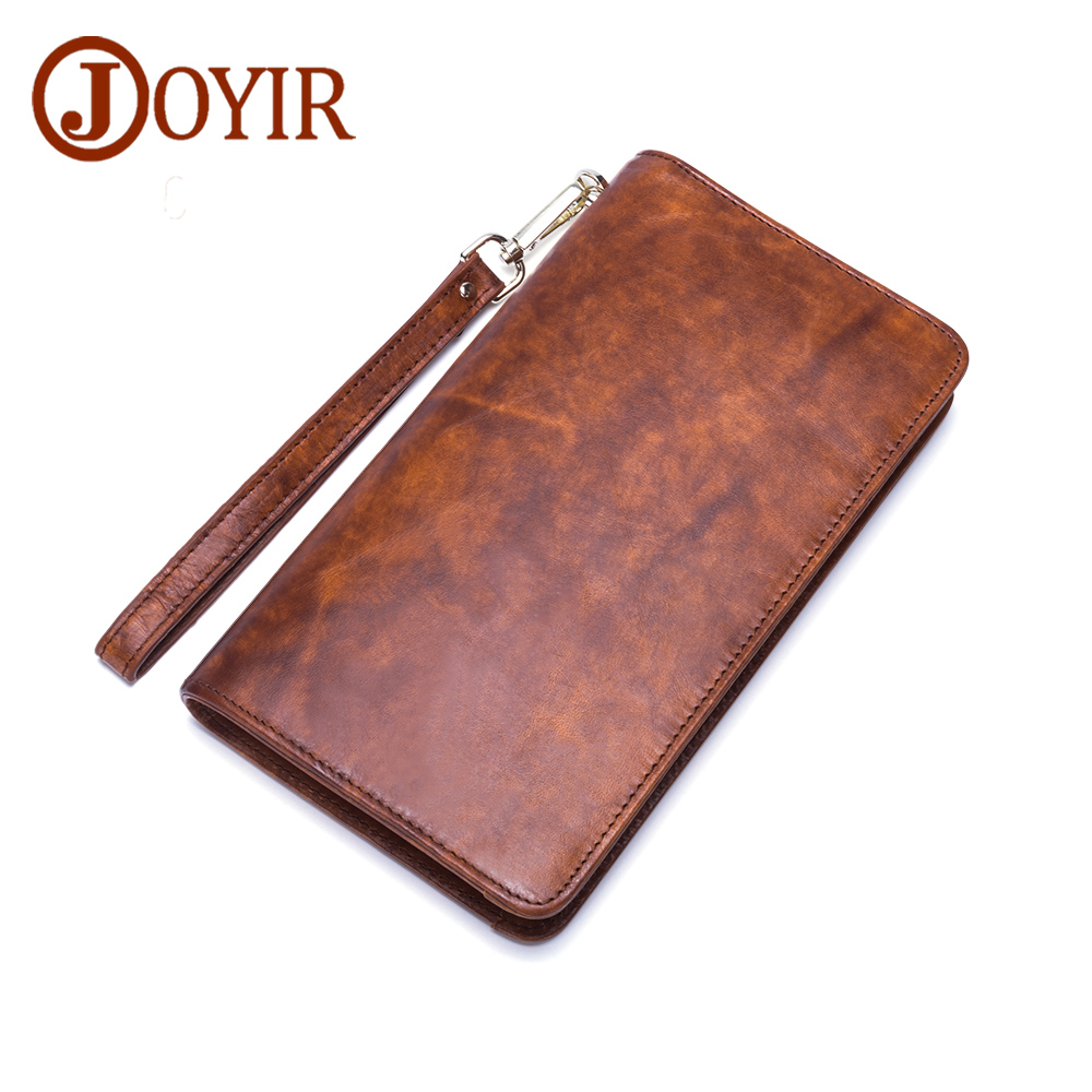 JOYIR Genuine Leather Men Wallets Zipper Design Business Male Wallet Fashion Purse Card Holder Long Clutch Wallets Men Gift 9312 fashion men multifunction wallets men s long purse high capacity wallet male clutch genuine leather zipper coin bag card holder